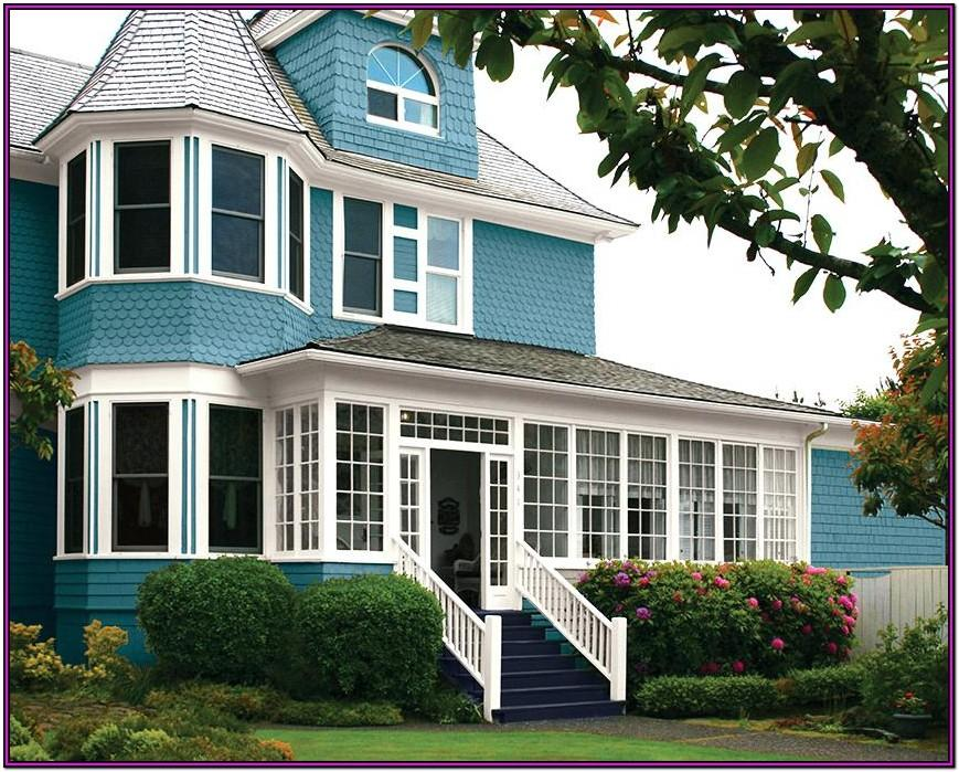 exterior house color ideas with brown roof 2