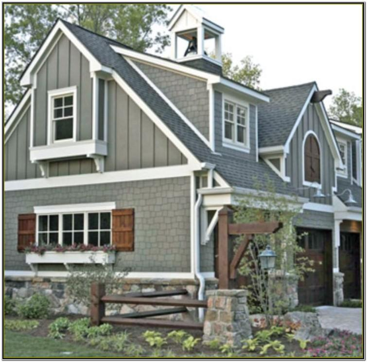 exterior house colors with brown roofs