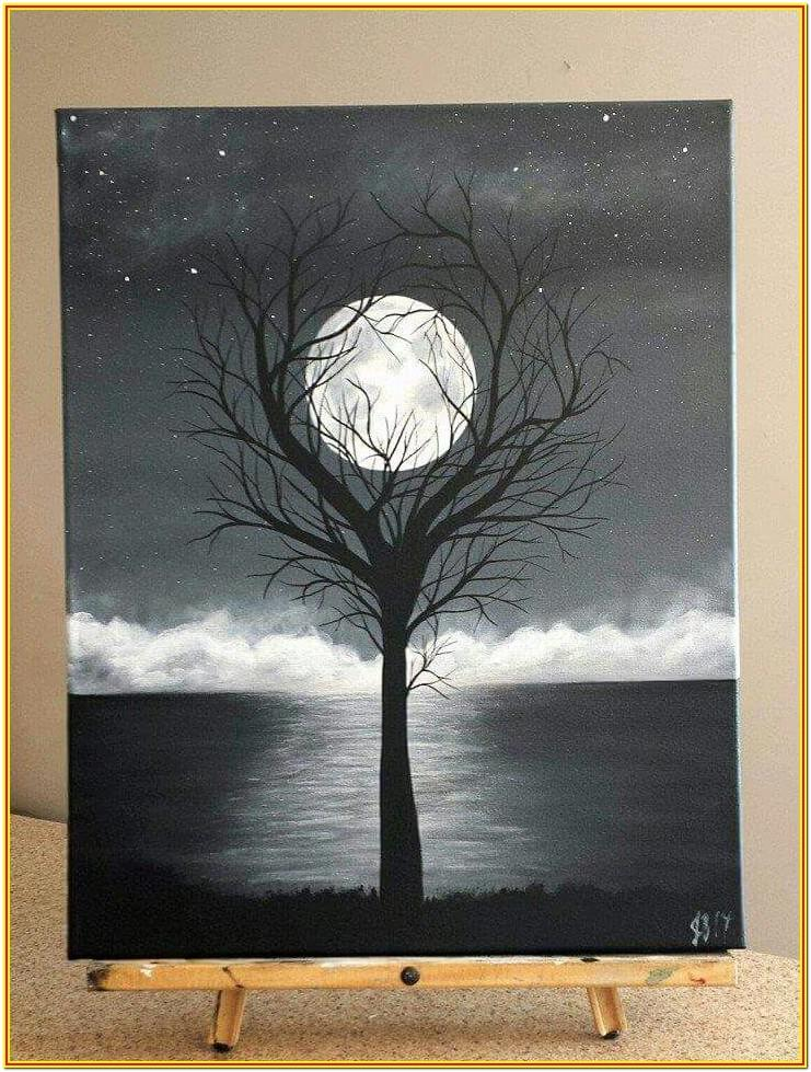 black canvas painting easy