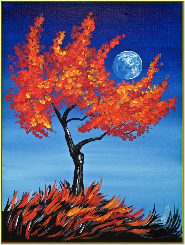 easy fall canvas painting ideas for beginners