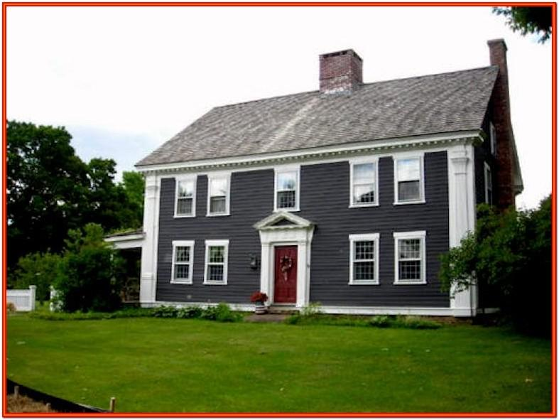 grey and red house exterior color card