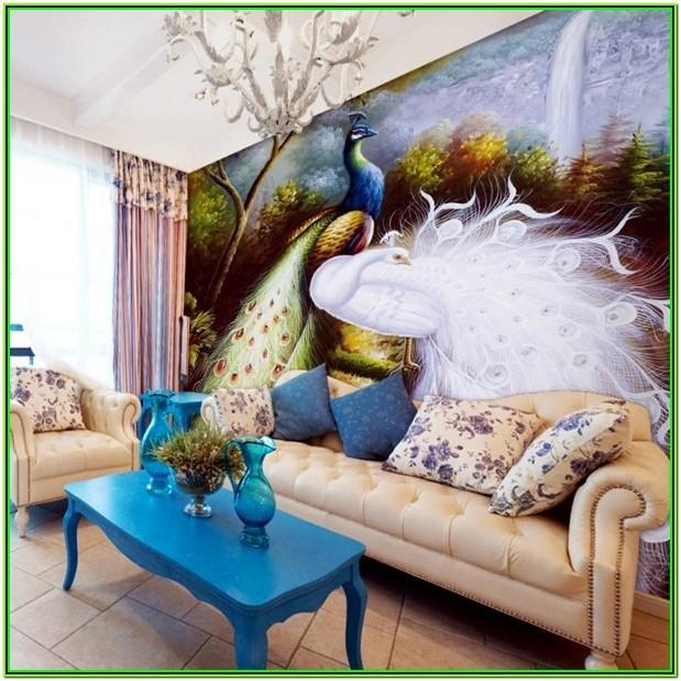 Peacock Feather Living Room Decor
