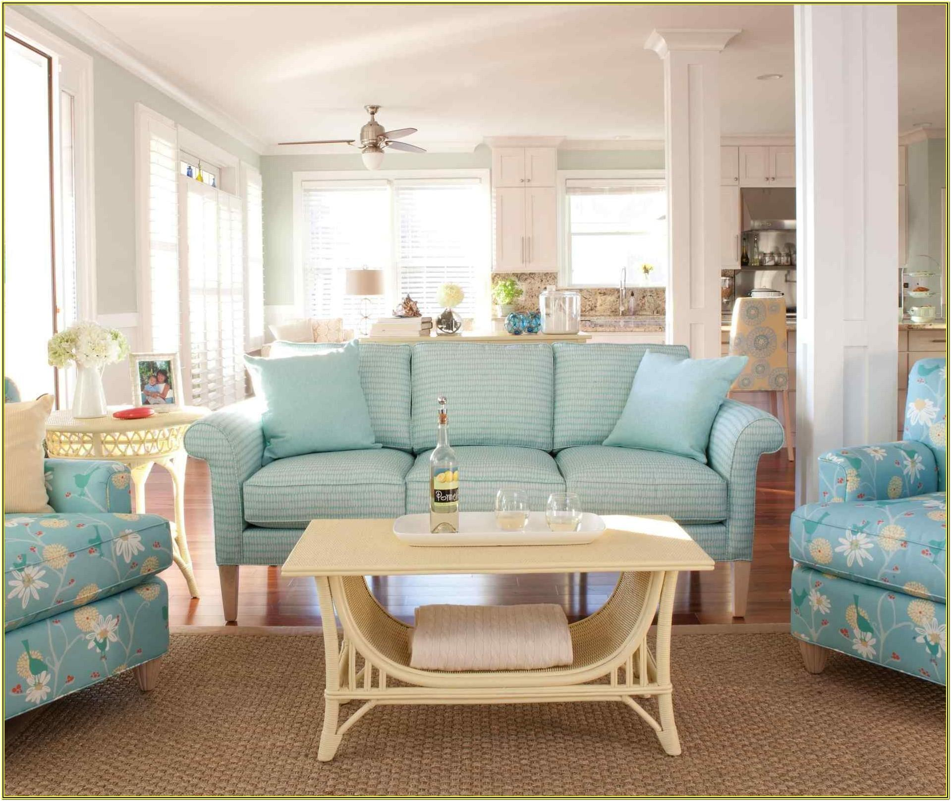 Beach Theme Living Room With Brown Couch