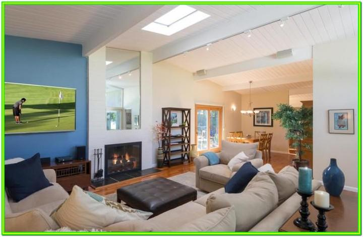Decorating Rectangular Living Room With Fireplace
