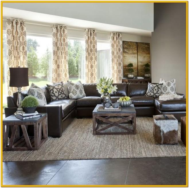Decoration Idea For Living Room With Brown Sofa