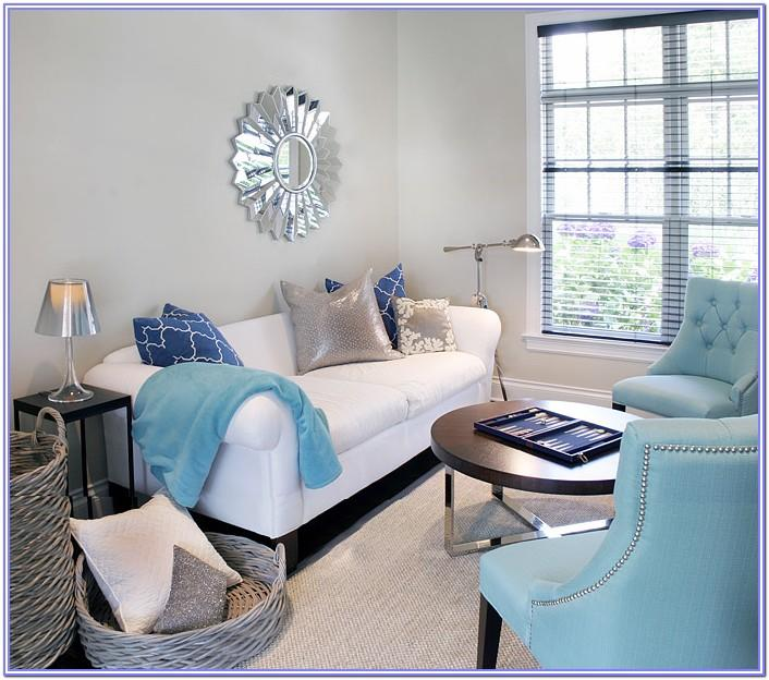 Light Blue And Silver Decoration Living Room