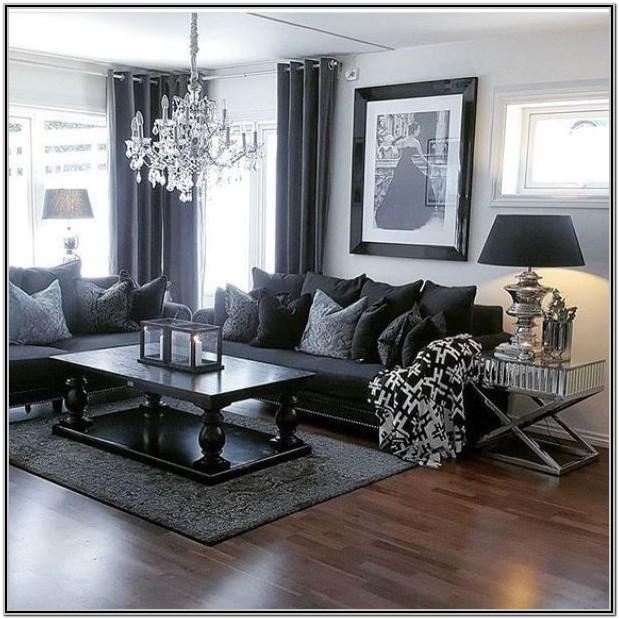 Living Room Decor With A Black Couch