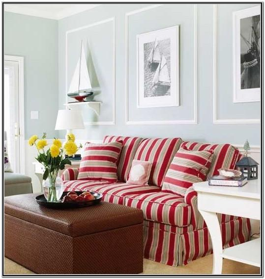 Living Room Decor With Pink Striped Couch