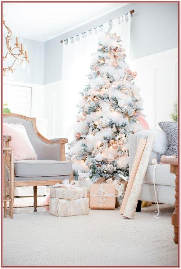 Living Room Rose Gold Christmas Decor