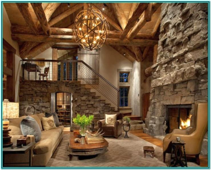 Living Room With Stone Fireplace Decor Ideas
