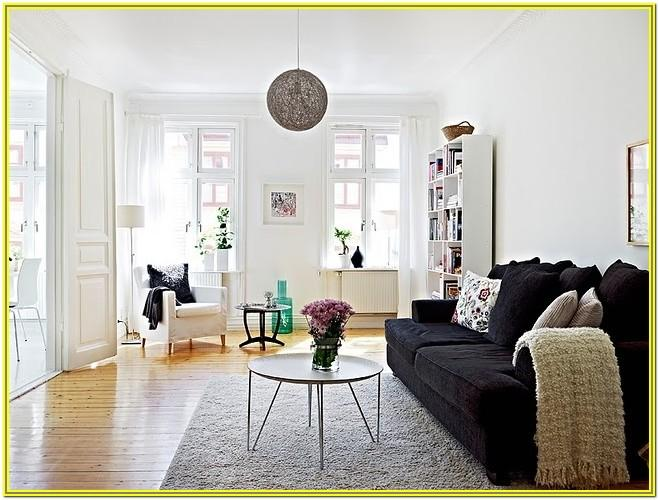 Living Room Decorating With White Walls And Dark Furniture