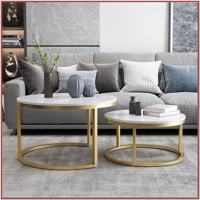 Living Room Marble Coffee Table Decor