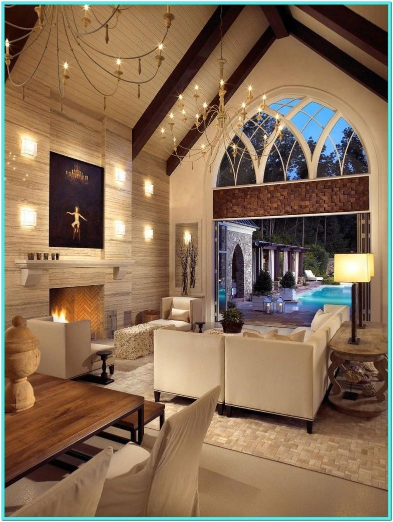 Living Room Vaulted Ceiling Wall Decor