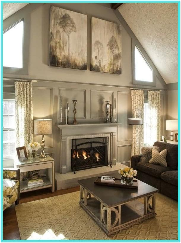 Living Room Vaulted Ceiling Wall Decorating Ideas