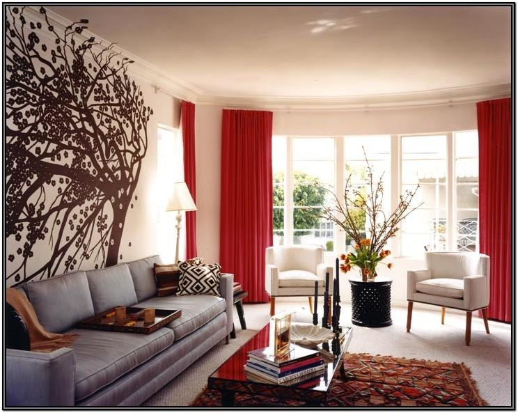 Red Living Room Curtain Ideas