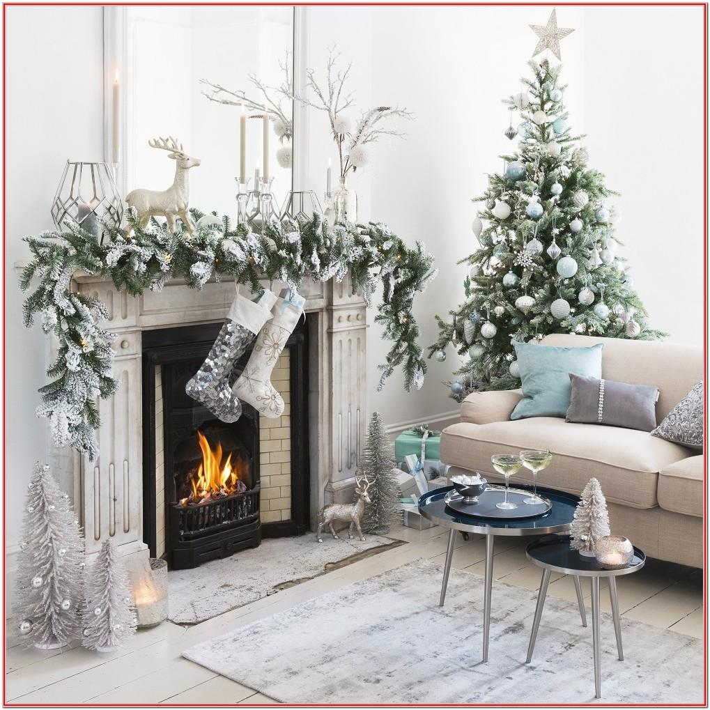 Silver Christmas Decorations Living Room