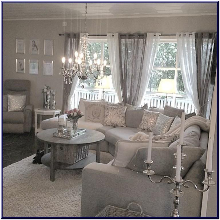 White And Gray Living Room Decor Curtains