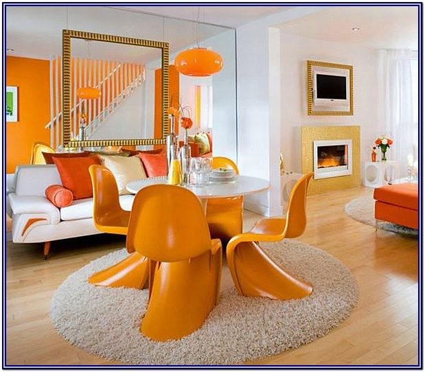 White And Orange Living Room Decor
