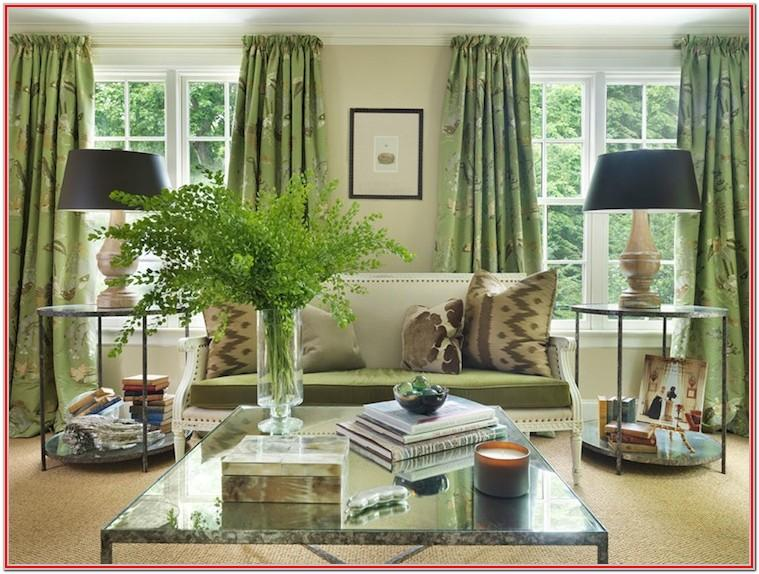 Dark Green Living Room Curtain Ideas